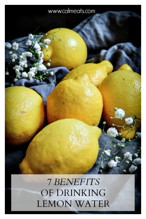 Starting the day with lemon water is one of the best things you can do for your digestive system. Moreover, it improves your skin's health, provides a dose of antioxidants, may boost your mood and more! Check out the 7 benefits of drinking lemon water. #lemonwater #calmeats #lemonwater #antioxidants #vitaminc #guthealth #healthyeating #nutrition