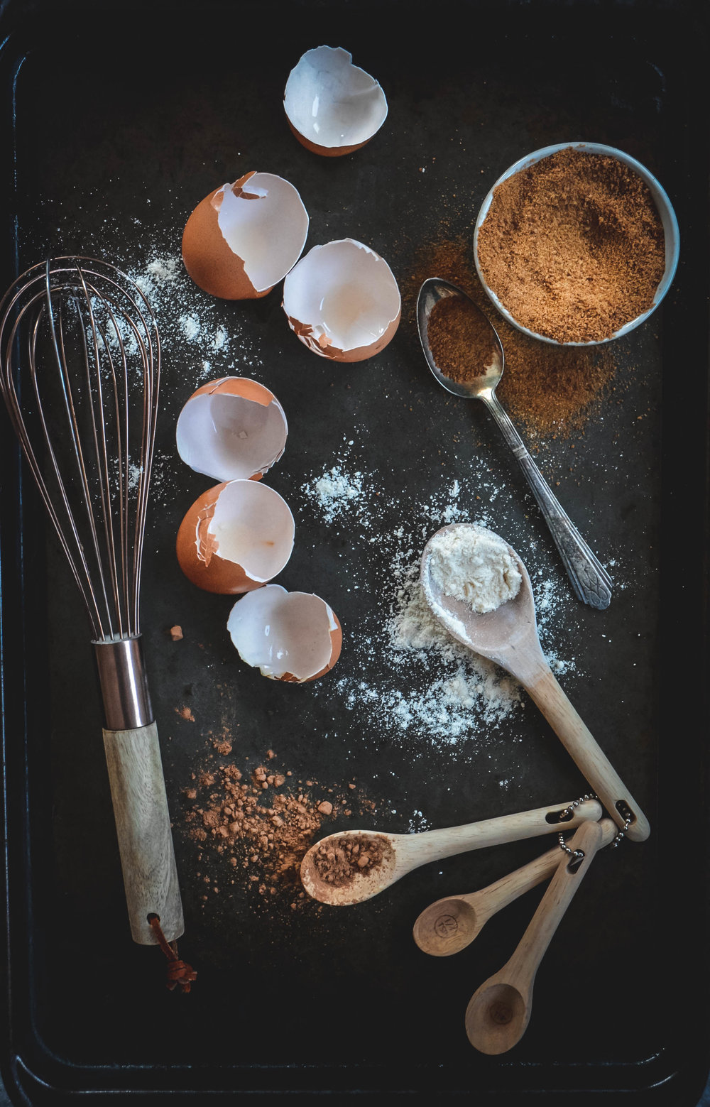 egg shells, cocoa and almond flour