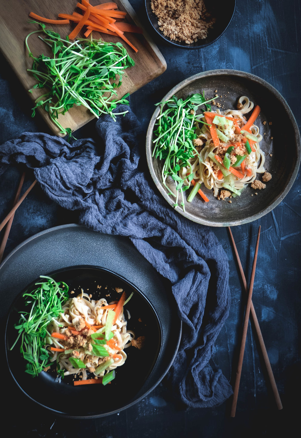 rutabaga noodles with tahini sauce and cashew crumble