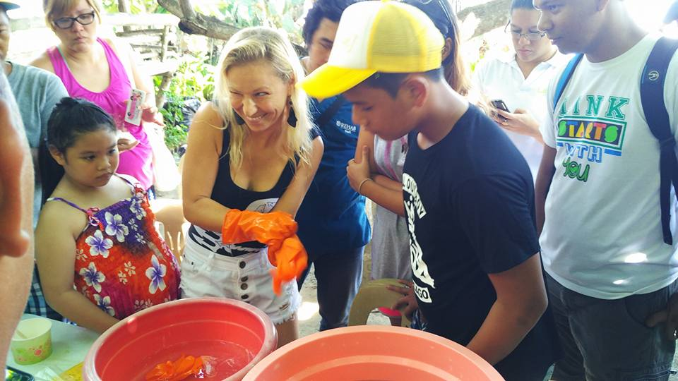 Laura conducting a coral propagation workshop during the Sustainably Stoked event last July.
