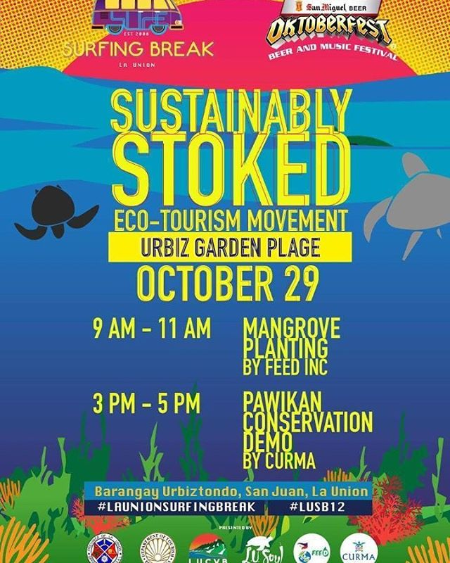 Here is tomorrow's lineup of activities! Join us for another #SustainablyStoked event brought to you by the #LaUnionSurfingBreak! 😊🐢💦