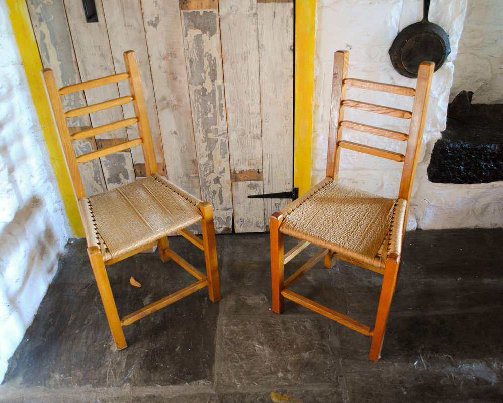 Traditional Sugan Rope Chairs From An Old Church.