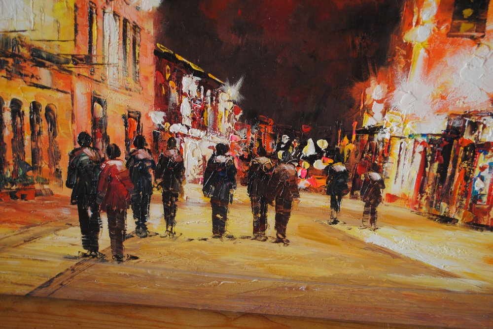 "Nightscape.  Shop Street, Galway City. Original Painting. €175                     Normal   0           false   false   false     EN-US   JA   X-NONE                                                                                                                                                                                                                                                                                                                                                                              /* Style Definitions */ table.MsoNormalTable 	{mso-style-name:""Table Normal""; 	mso-tstyle-rowband-size:0; 	mso-tstyle-colband-size:0; 	mso-style-noshow:yes; 	mso-style-priority:99; 	mso-style-parent:""""; 	mso-padding-alt:0cm 5.4pt 0cm 5.4pt; 	mso-para-margin:0cm; 	mso-para-margin-bottom:.0001pt; 	mso-pagination:widow-orphan; 	font-size:12.0pt; 	font-family:Cambria; 	mso-ascii-font-family:Cambria; 	mso-ascii-theme-font:minor-latin; 	mso-hansi-font-family:Cambria; 	mso-hansi-theme-font:minor-latin; 	mso-ansi-language:EN-US;}       SOLD"