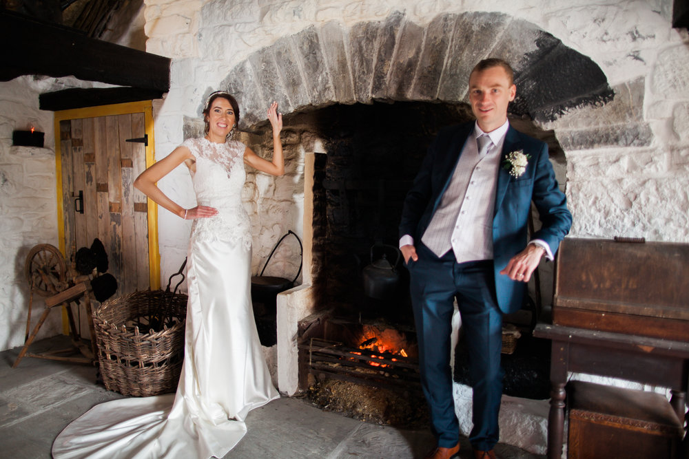 Laura & Lorcán celebrating their wedding at Katie's Claddagh Cottage.
