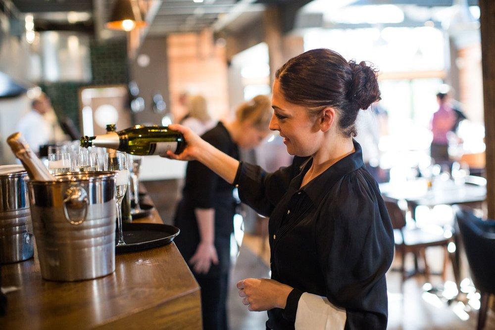 The Kings Head Restaurant Champagne w: Waitress.jpg