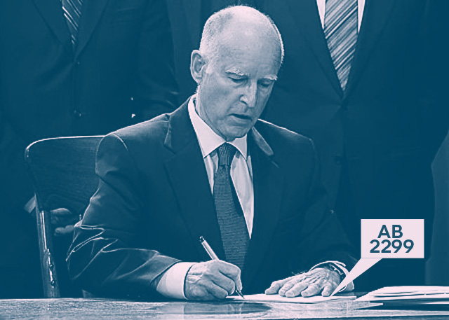 Governor Jerry Brown signs AB2299 into law.