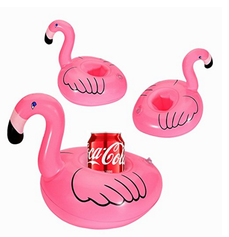 Inflatable Flamingo Coasters Cup Drink Holder (16 Pieces) by Home Kitty