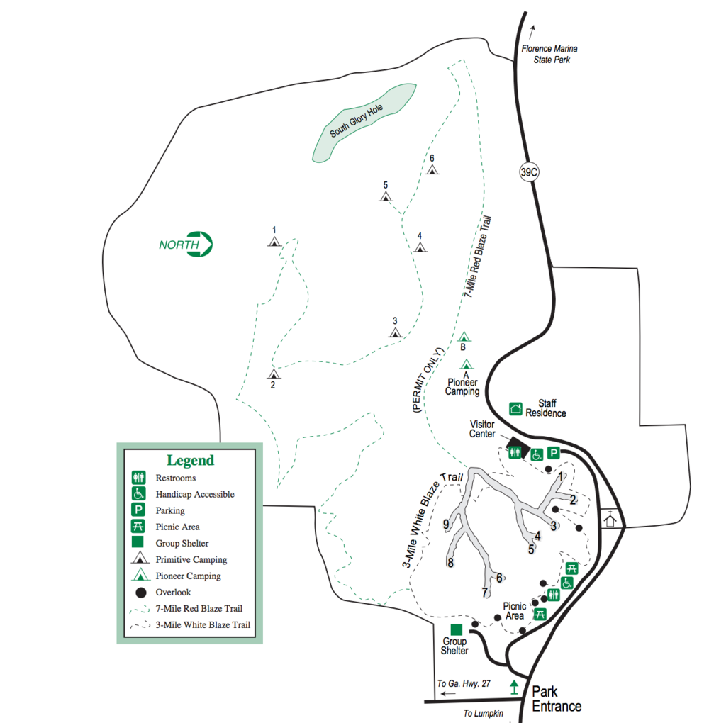 Providence Canyon State Park Map - Click here to Download