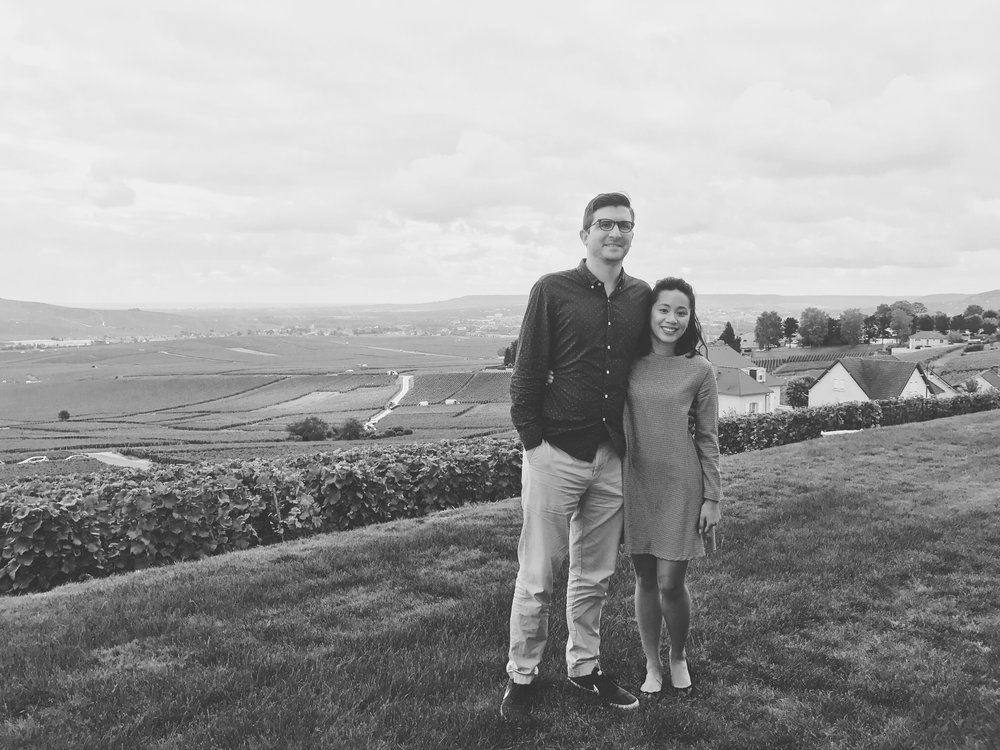 Coco and I just outside the tasting room of Champagne G. Tribaut overlooking the vineyard