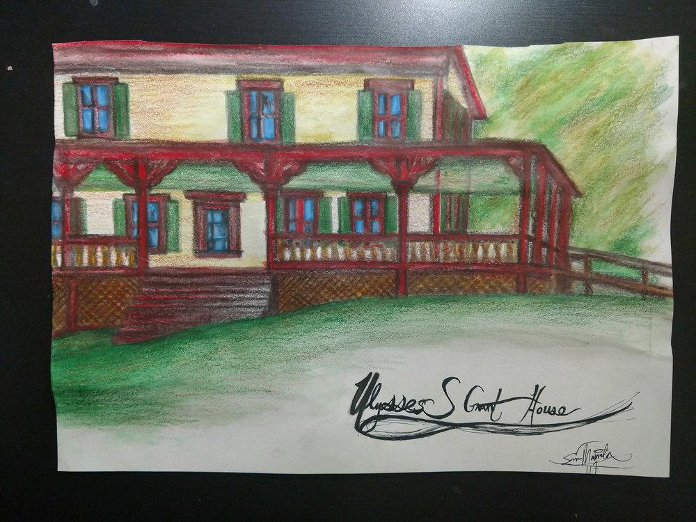 """Sam Mamrila """"Ulysses S Grant House"""" in Watercolor Pencil $20"""