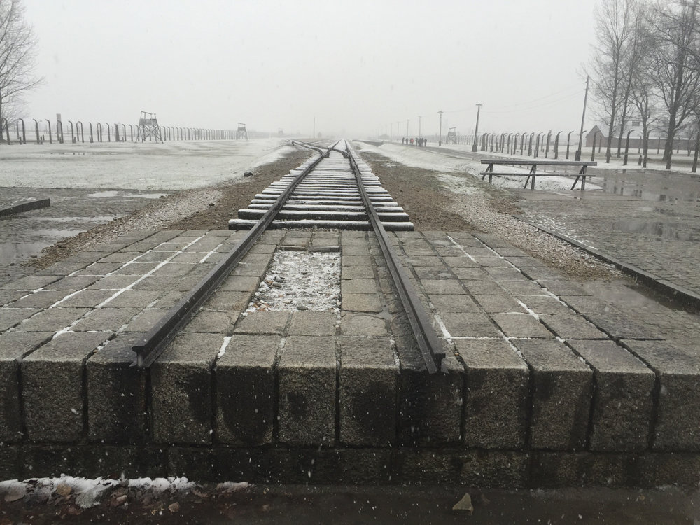 The end of the train at Auschwitz.