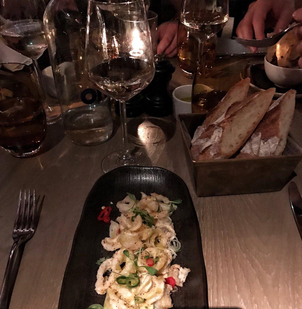 Crispy squid, fennel salad, yuzu juice dressing and coriander cress