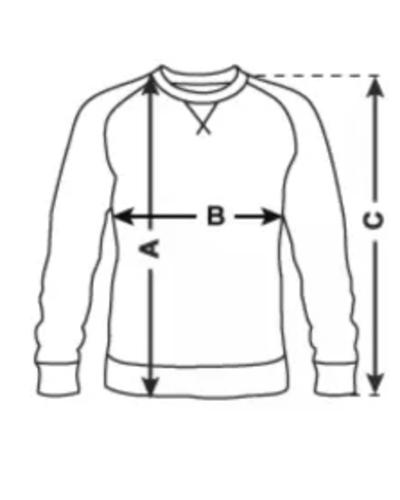 Black sweater bio (male) - MA: 715 mm B: 530 mm C: 795 mmLA: 735 mm B: 560 mm C: 810 mmXLA: 755 mm B: 590 mm C: 825 mmXXLA: 775 mm B: 620 mm C: 840 mm