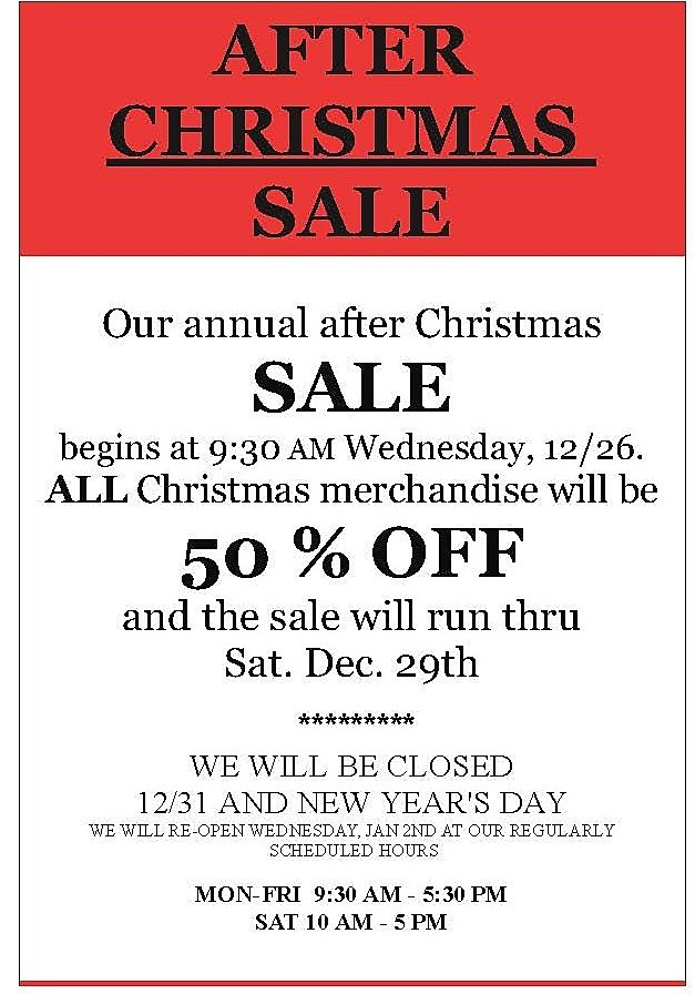 Seasons of Williamsburg Annual After Christmas SALE