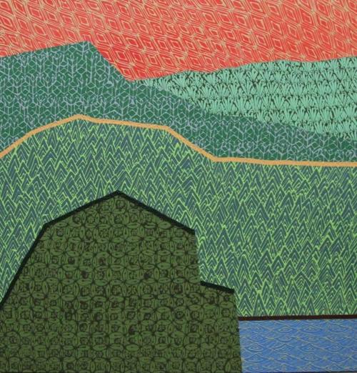 "APPALACHIAN RED   Acrylic on canvas, 46x48"", 2015"