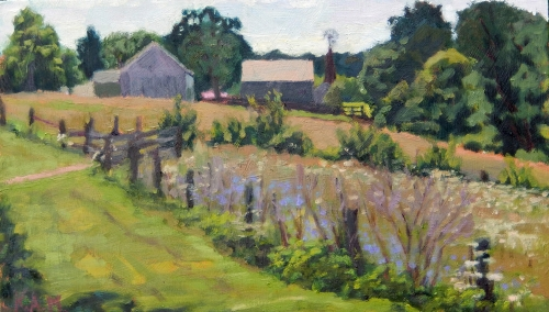 CARRIAGE HILL FARM IN AUGUST   9.25 x 16in. oil on board