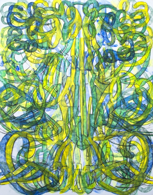 "LARGE BLUE AND GREEN CHANDELIER Acrylic on Board 52"" x 42"" 2014"