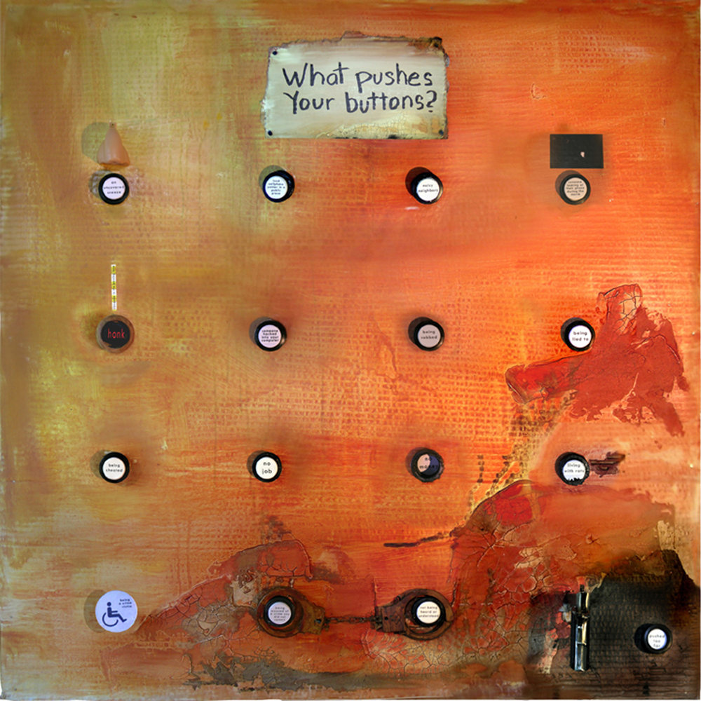 "WHAT PUSHES YOUR BUTTONS?   Acrylic on cardboard with mixed media (pistol is a cigarette lighter) nailed onto board; 36"" x 36"" x 9"" 2017"