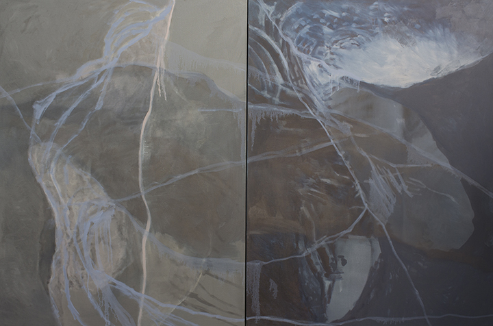 "KEEP THEM OUT   oil, wax on linen, diptych, 51"" x 78"" 2017"