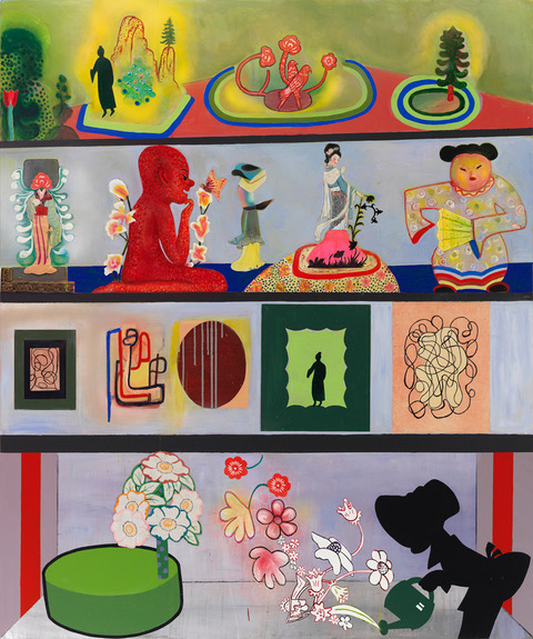 "THE COLLECTOR'S COLLECTION (ALL THAT HE OWNS!)   Mixed media and collage on canvas, 72"" x 60"" 2014"