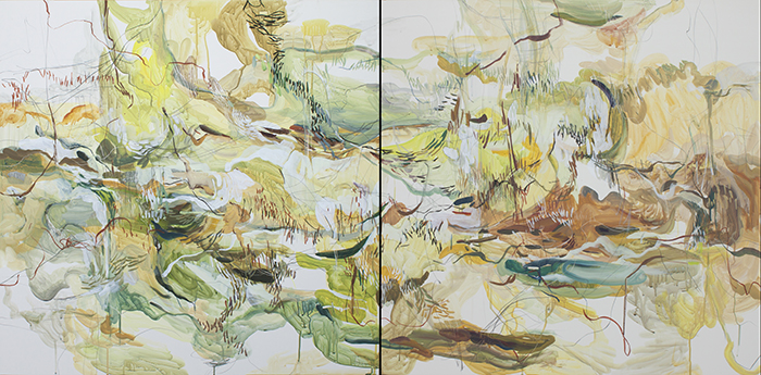 "YELLOW FOSSIL   acrylic gouache, mixed media on clayboard, 36"" x 72"""
