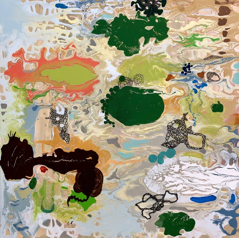 "MY LAND   Acrylic on canvas, 18"" x 18"" 2018"