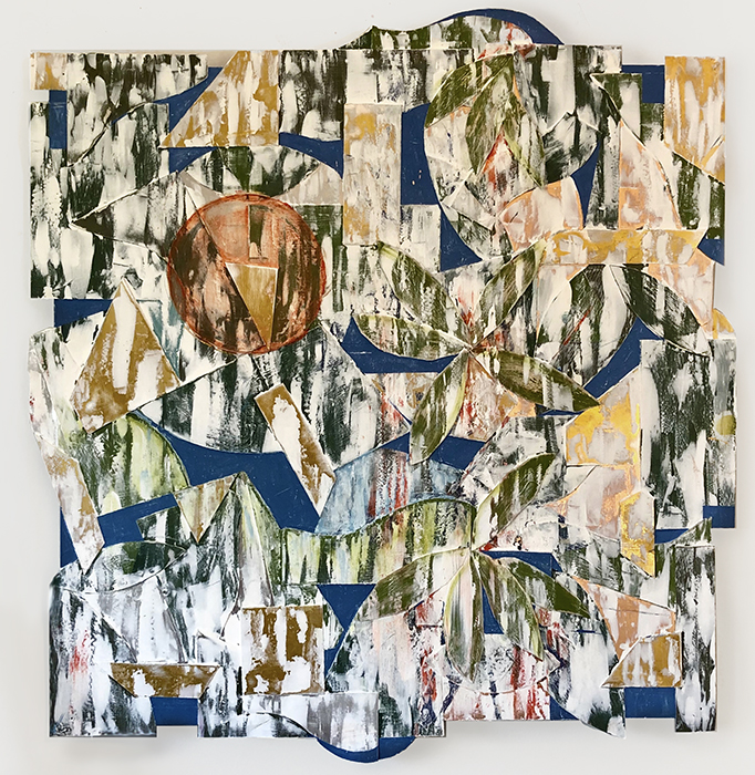 "HENRI   Copper and stainless steel sheet metal, modeling paste, gesso, and matte acrylic on stretched canvas, 27"" x 27"" 2018"