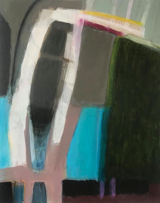 "WIGGLE ROOM   Acrylic, crayon, marker on linen, 30"" x 24"" 2018"