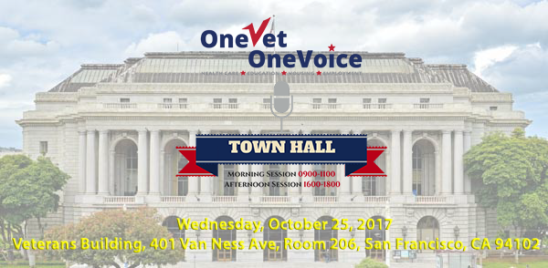 SF VETERANS TOWN HALL 4th WEDNESDAY EVERY MONTH 9-11 and 4-6 at Veterans Building, 401 Van Ness Ave, Room 206, San Francisco Ca 94102