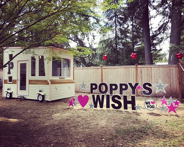 The reveal was perfect.. Poppy absolutely loved her playhouse! I feel so blessed to have been a part of this Wish! #bigreveal #shelovedit #poppyswish #canyouseeit #minimansion #minimansions #playhousemansion #makeawishfoundation #oregon #fun #project #rv #motorhome #winnebago #playhouse #cool #unique #custom #vintage #retro #design