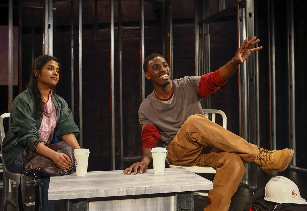 Mukta (Sita Sarkar) and Darryl (Michael Alcide) The Donut Play, Castillo Theatre, May 2014 Photo: Ronald L. Glassman