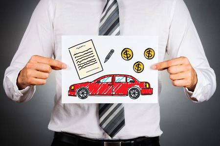 40928136 - car loan concept. businessman holding paper with drawing of a car together with money and contract illustrations.