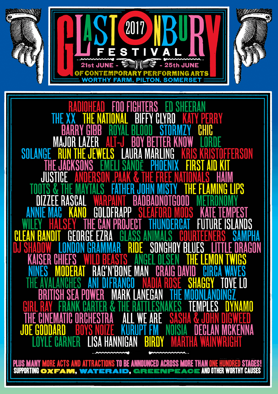 Glastonbury's first line up poster for 2017