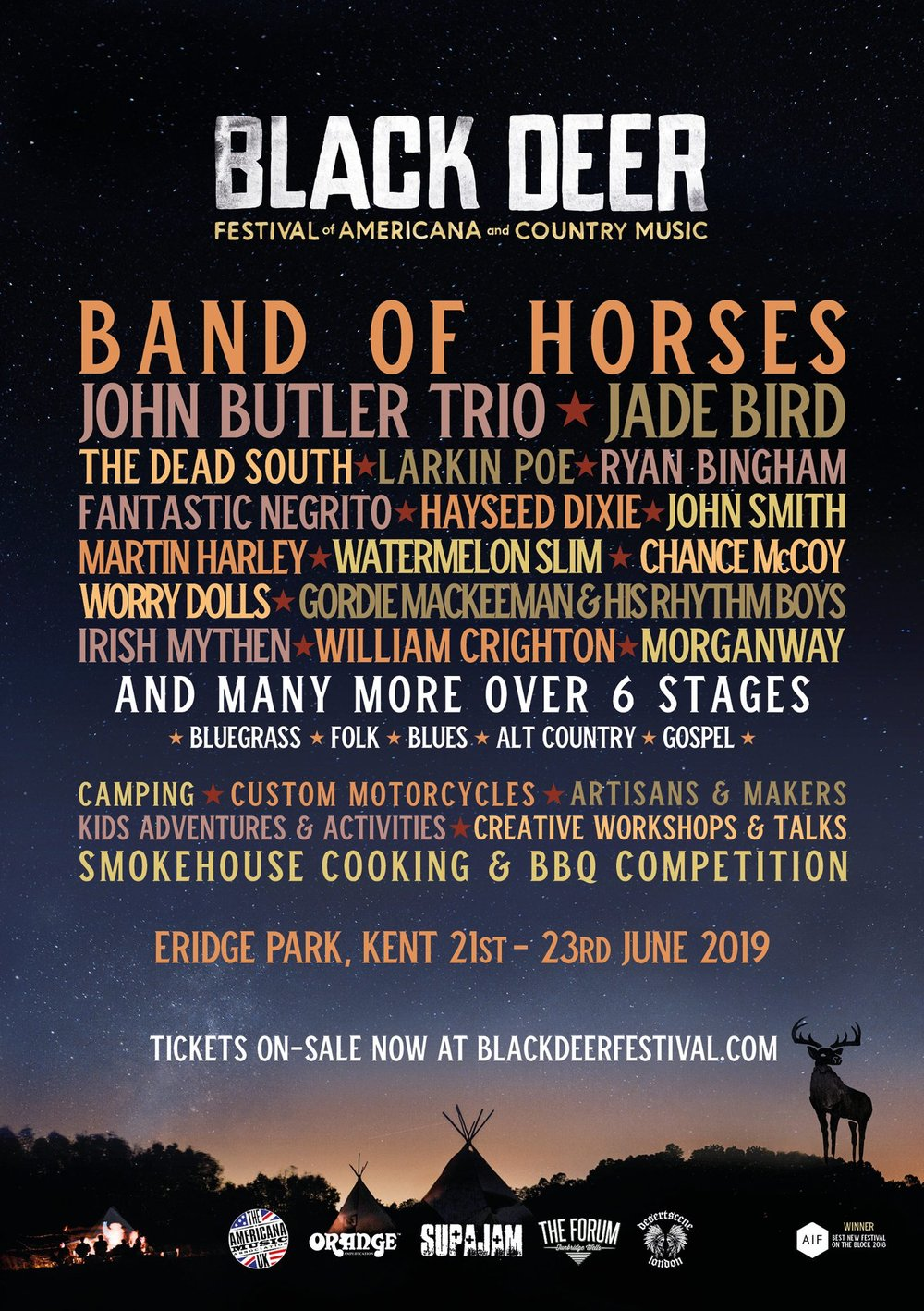 Black Deer announces first names for 2019 - Multi-award winning Americana and Country festival Black Deer have announced a plethora of names that will play next years edition. Including the first headliner, Band Of Horses.
