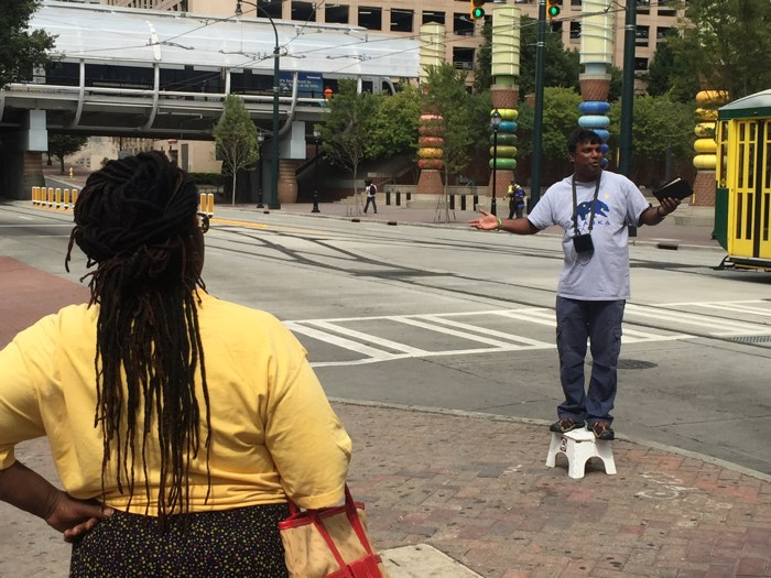James preaches in downtown Charlotte, NC.