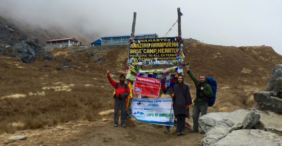 Ricky, Christian, and Bishnu make it to Annapurna Base Camp.