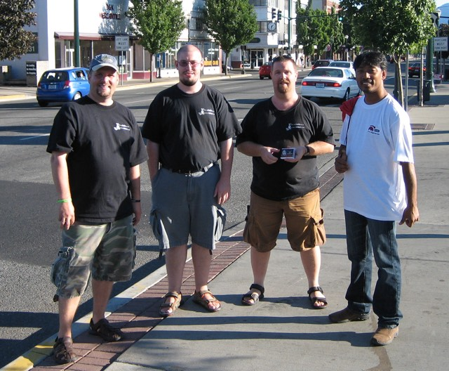 Jim Jones (pictured far left) with Bishnu Shrestha (pictured far right) in Grants Pass, Oregon