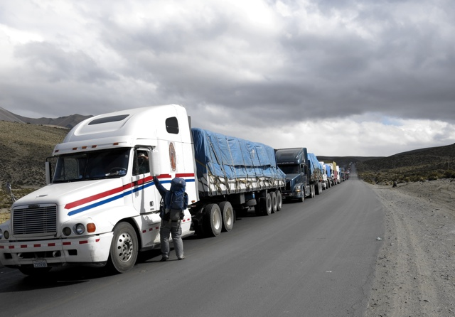 Sharing Christ with truck drivers waiting to enter Bolivia
