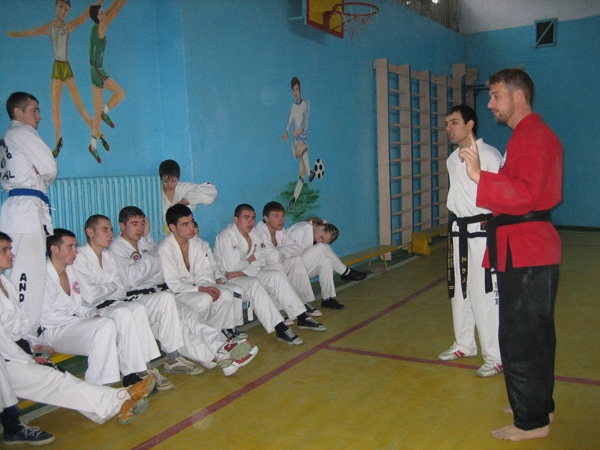 Sharing the Gospel after teaching a martial arts class (Moldova, 2009)