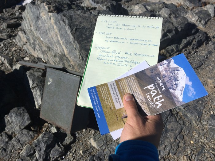 It's always nice to leave a gift in the summit register of a peak. Later, I would give one of these same tracts to a Jewish hiker needing a ride.