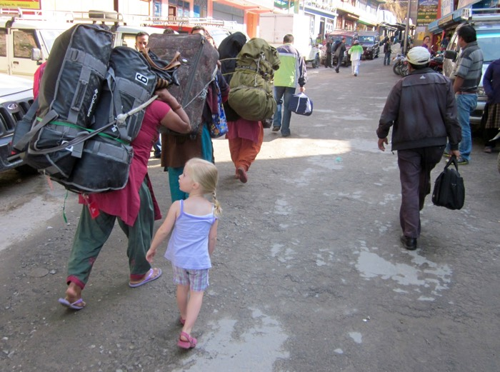 Porters carry all these bags to the Tibetan border where God blinded the eyes of the Chinese authorities back in 2012.