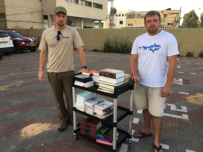 Delivering a Load of Books for the Library at Israel College of the Bible in Netanya