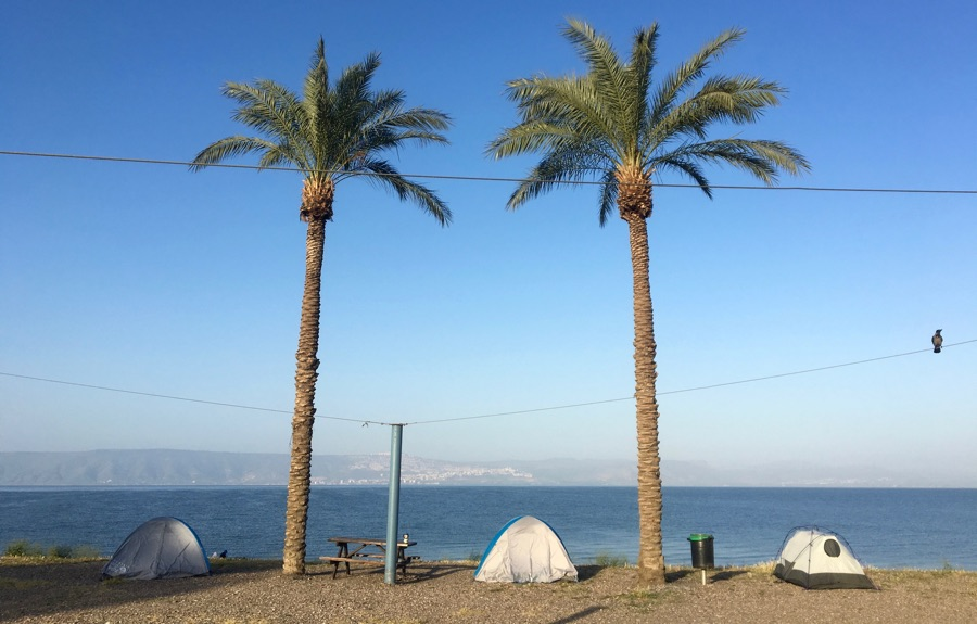 Camped on the Sea of Galilee