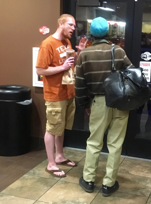 Daniel Middleton shares Christ with a man, prays over him, and buys him a coffee at a Dunkin Donuts.