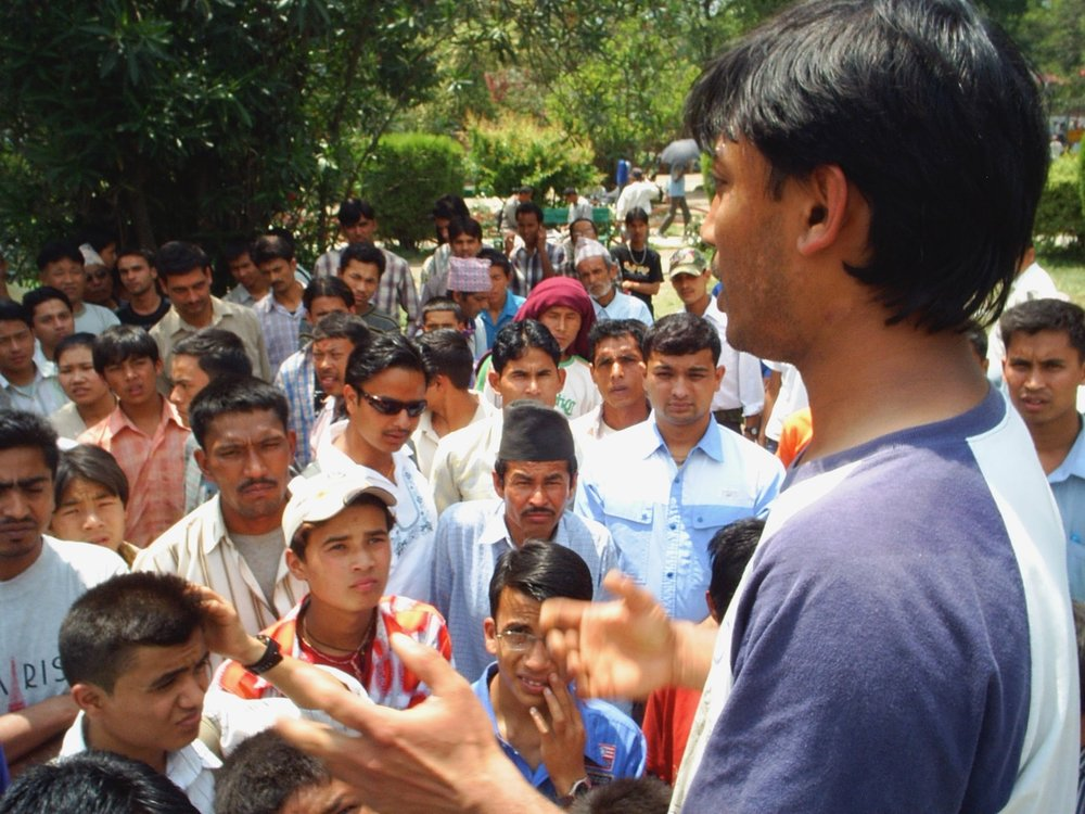 Brother Bishnu preaches his first open-air sermon back in 2007.