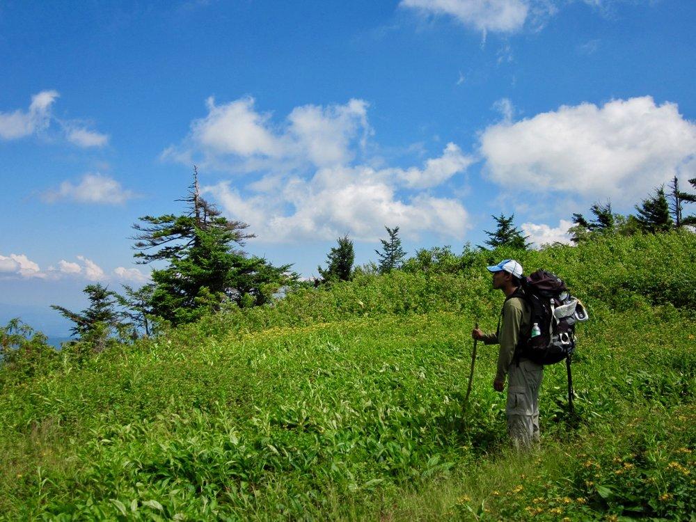 Bishnu hiking the Black Mountain Crest in North Carolina