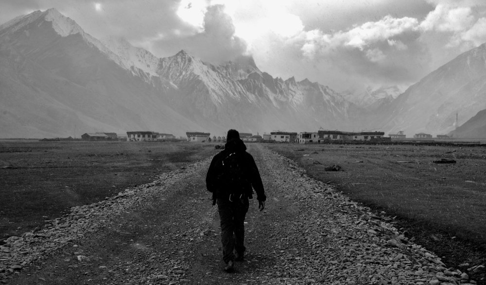 Slogging into a remote high-altitude Buddhist village in a snowstorm (2006)