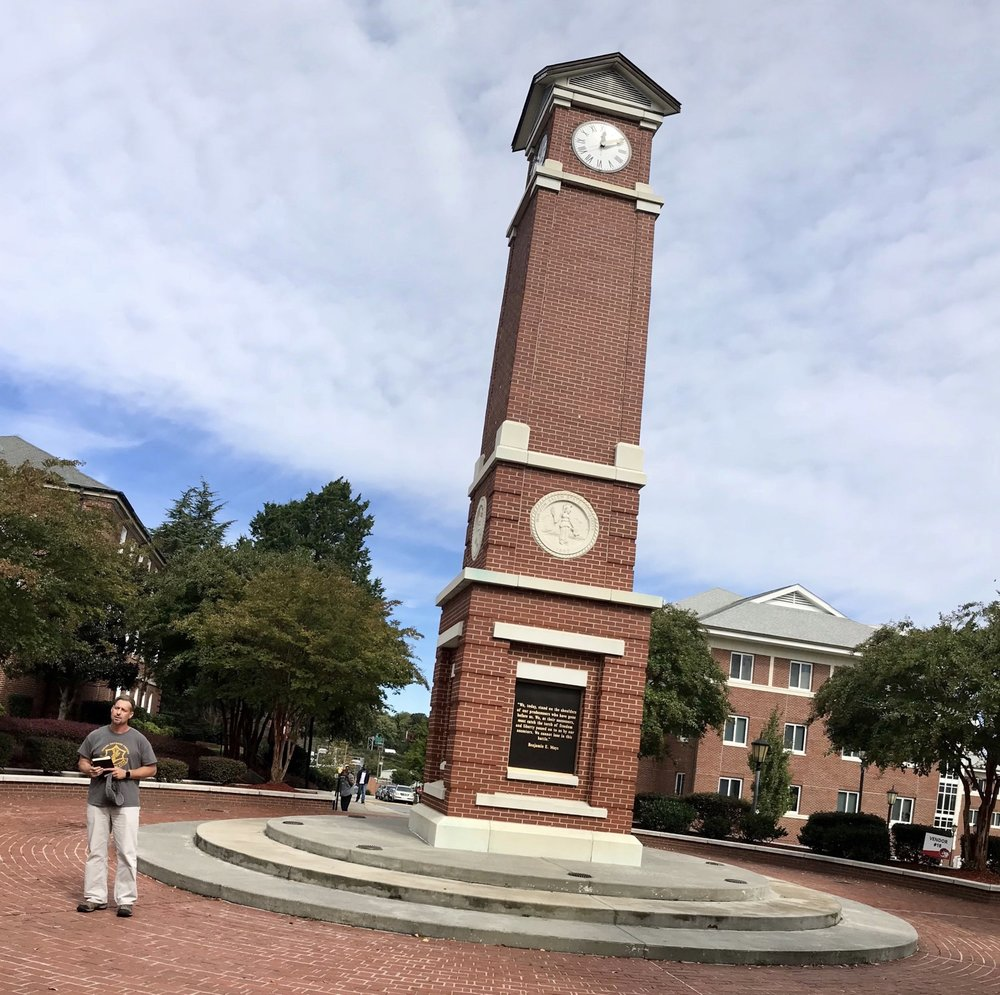 I love preaching by the clock tower at Winston-Salem State University.