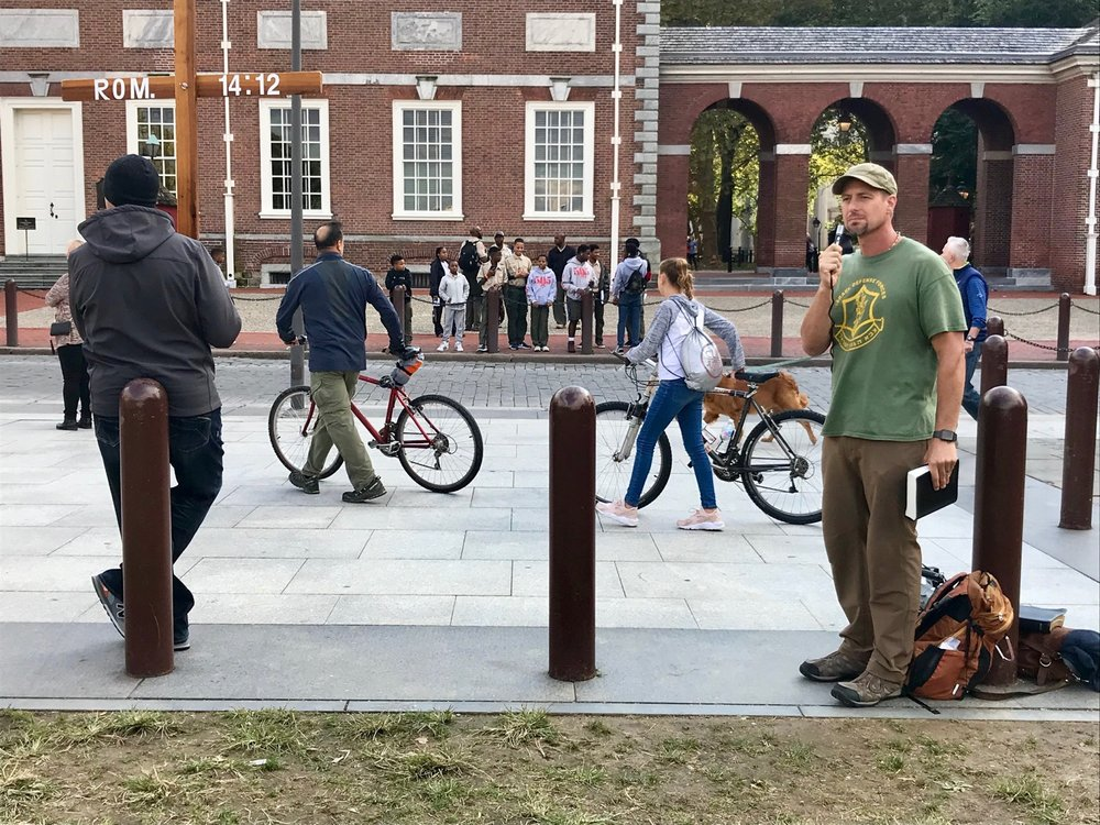 Preaching outside Independence Hall in Philadelphia