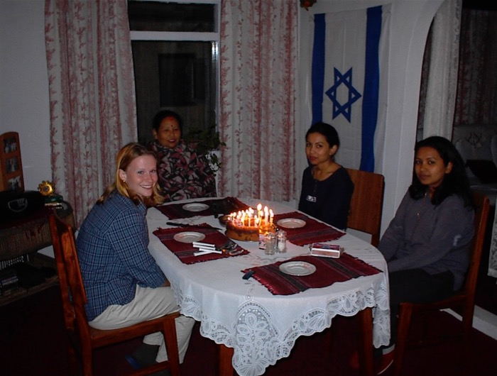 Jamie's 24th Birthday Party in Kathmandu, note the big Israeli flag.